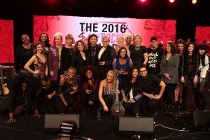 From left (top row): Rock Sugah guitarist, Kat Dyson; 2016 She Rocks Awards winner and Karmin singer, Amy Heidemann; guitarist, Malina Moye; 2016 She Rocks Awards winner and guitarist, Jennifer Batten; 2016 She Rocks Awards winner and Seymour Duncan co-founder/CEO, Cathy Carter Duncan; She Rocks Awards Founder and Co-Host, Laura B. Whitmore; 2016 She Rocks Awards winner and Director of Brand Communications at Taylor Guitars, Chalise Zolezzi; 2016 She Rocks Awards winner and NAMM Director of Public Affairs/NAMM Foundation Executive Director, Mary Luehrsen; 2016 She Rocks Awards winner and Director of Music Recording and Scoring at Skywalker Sound, Leslie Ann Jones; 2016 She Rocks Awards winner and Senior Vice President of Public Relations for Universal Music Enterprises, Sujata Murthy; Rock Sugah singer, Kudisan Kai; 2016 She Rocks Awards Winner and President/Co-Founder of Gator Cases, Crystal Morris; Rock Sugah drummer, Benita Lewis; 2016 She Rocks Awards winner and Fanny's House of Music Co-Owner, Leigh Maples; keyboardist, Jenna Paone; Charlotte and Sarah Command of The Command Sisters; (bottom row) Rock Sugah keyboardist, Lynette Williams; 2016 She Rocks Awards winner and Tom Tom Magazine Founder, Mindy Abovitz; Rock Sugah bassist, Divinity Roxx; 2016 She Rocks Awards winner and legendary singer, Chaka Khan; 2016 She Rocks Awards Co-Host and guitarist, Nita Strauss; and 2016 She Rocks Awards winners and Rock N' Roll Camp for Girls Founder, Mona Tavakoli and Becky Gebhardt; attend the She Rocks Awards during NAMM at the Anaheim Hilton on January 22, 2016 in Anaheim, California. (Photo by Kevin Graft)