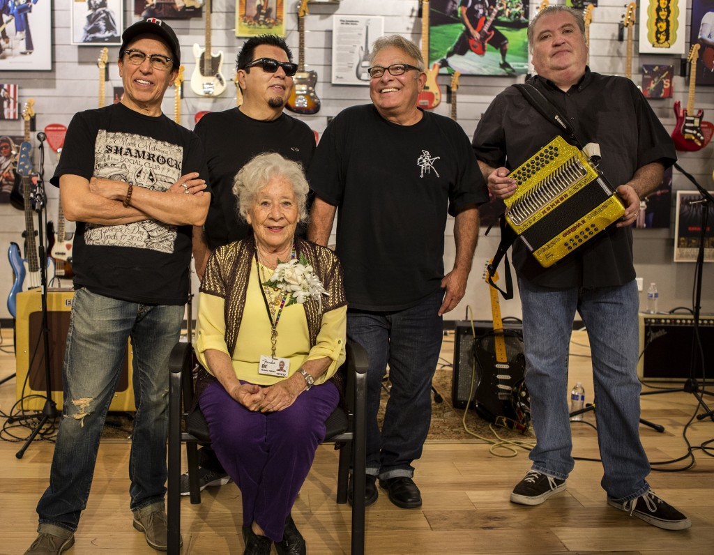 Fender Custom Shop Pickup Winder Abigail Ybarra with Los Lobos during her retirement party on Fri., May 3