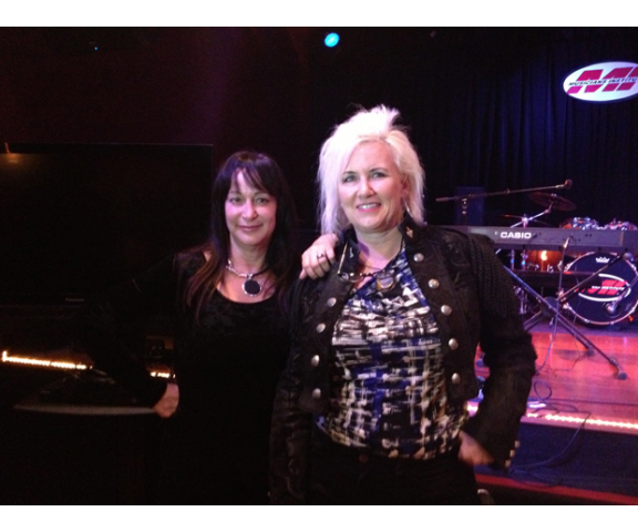 Holly Knight and Jennifer Batten during the 2013 Women's Music Summit in L.A.