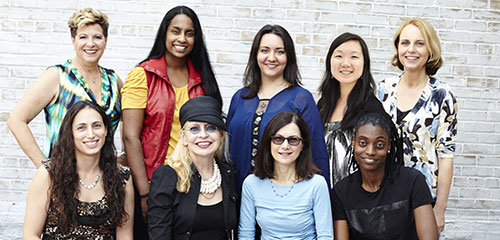 Global female jazz musicians featured in The World in her Hands. From top left: Mayra Casales – percussion, Arianna Fanning – drums, Jennifer Vincent – bass, Linda Oh – bass, Monika Herzig – piano From bottom left: Reut Regev – trombone, Leni Stern – guitar, Jamie Baum – flute, Lakecia Benjamin – saxophone.