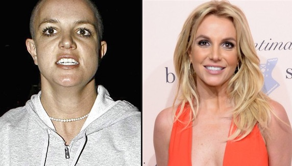 Britney Spears in 2007 before her life coach (left), and Britney Spears now thriving after working with a life coach (right).