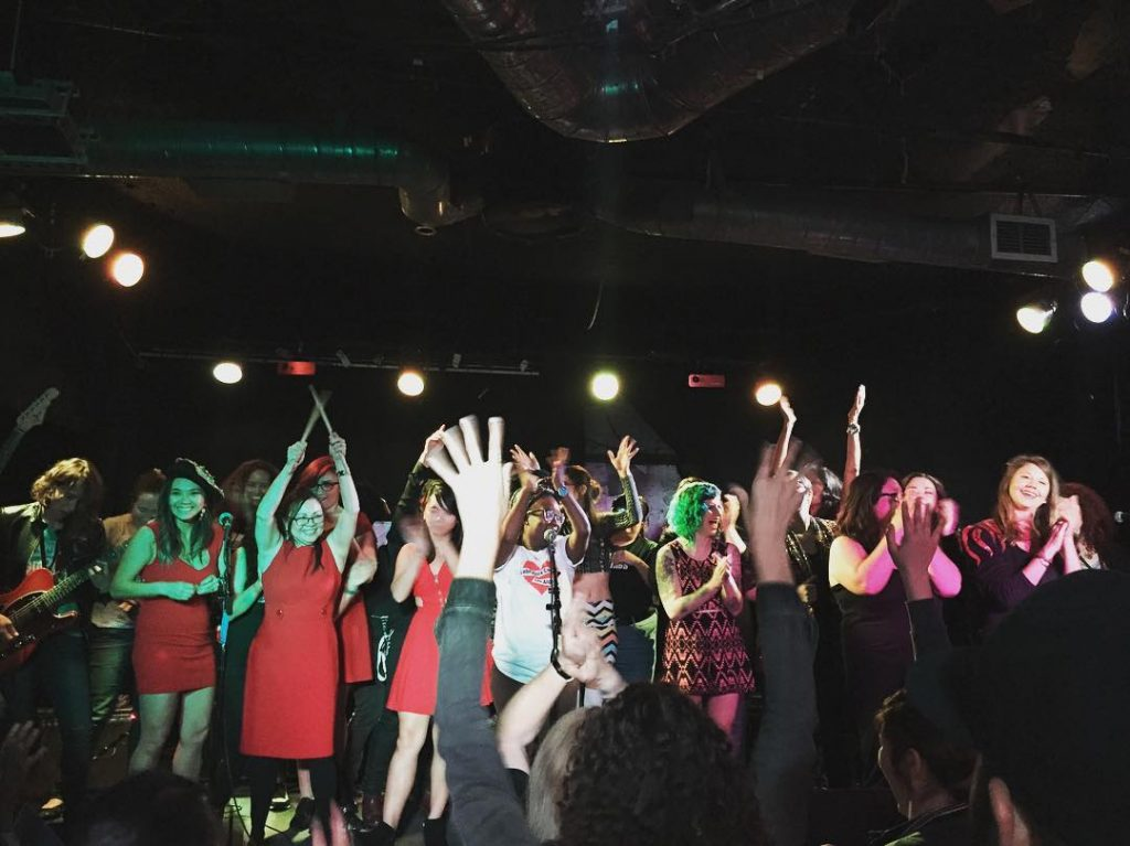 Campers take a bow after their showcase at the Satellite. Credit: Kim Gouveia/Rock n' Roll Camp for Girls Los Angeles