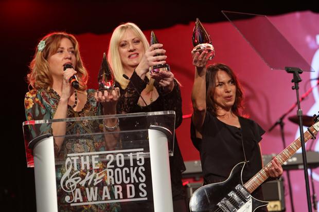 2015 She Rocks Award Winners Vicki Peterson, Debbi Peterson and Susanna Hoffs of The Bangles.